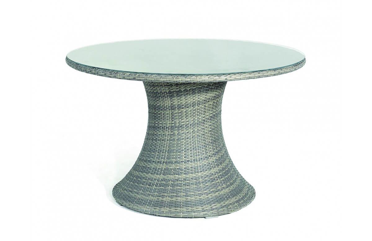 Table rondee 2-4 personnes en aluminium naturele VULCANO - Hémisphère Editions