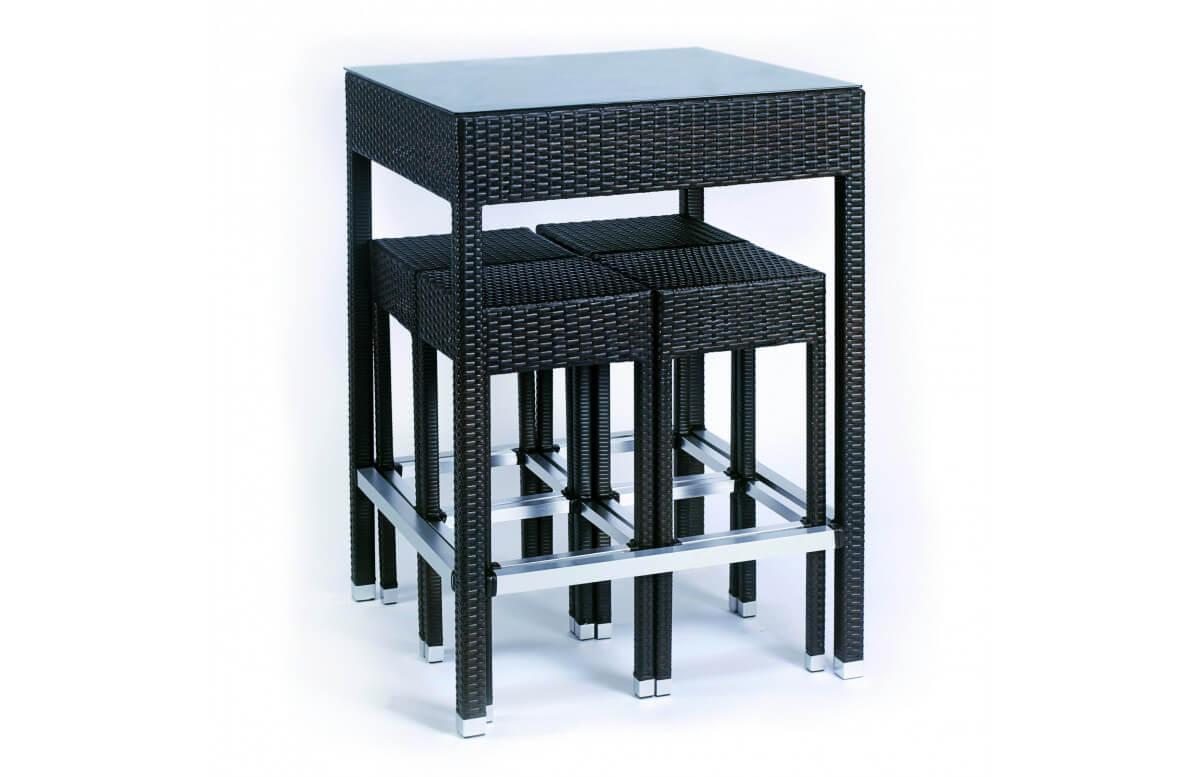 Ensemble haut table et chaises de jardin encastrable 4 personnes en aluminium marron ALTO - Hémisphère Editions