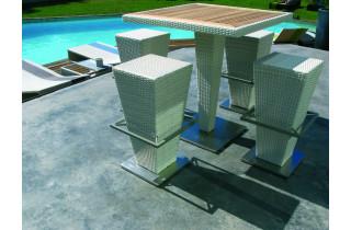 Ensemble haut table et chaises de jardin 4 personnes en aluminium FUSYON - Hémisphère Editions