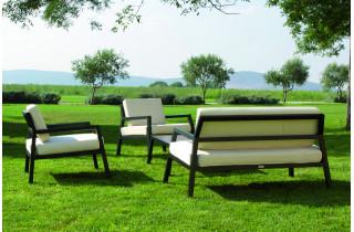 Salon de jardin bas 3 personnes en aluminium écru MODENA - Hémisphère Editions