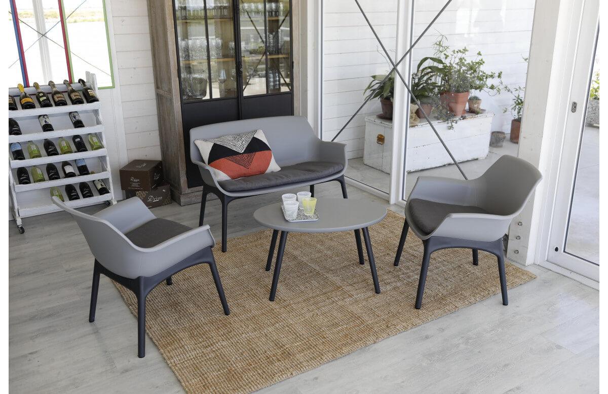 Salon de jardin bas 4 personnes en polypropylène MARINELLO - Hémisphère Editions