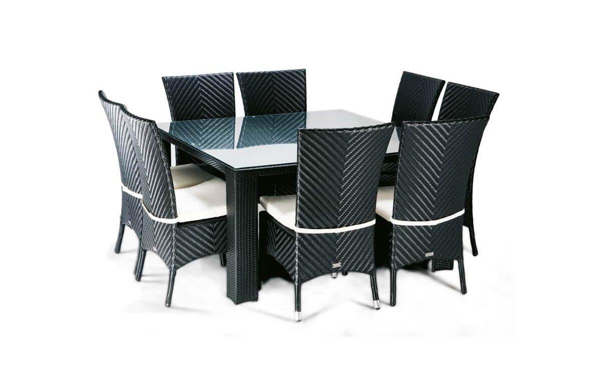 Ensemble table et chaises de jardin rectangulaire 6 personnes en aluminium noir LOUNGE - Hémisphère Editions