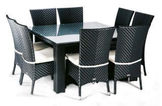 Ensemble table et chaises de jardin carré 8 personnes en aluminium noir LOUNGE - Hémisphère Editions