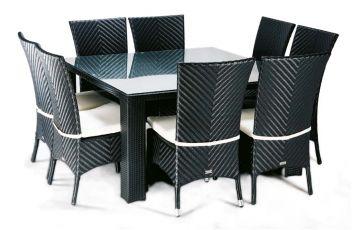 Table carrée 8 personnes en aluminium noire LOUNGE - Hémisphère Editions
