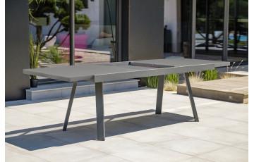 Table de jardin extensible STOCKHOLM en aluminium avec rallonge manuelle Anthracite 10/12 personnes DCB GARDEN