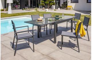 Ensemble table et chaises de jardin en alu/verre pour 6 personnes DCB Garden TOLEDE gris anthracite