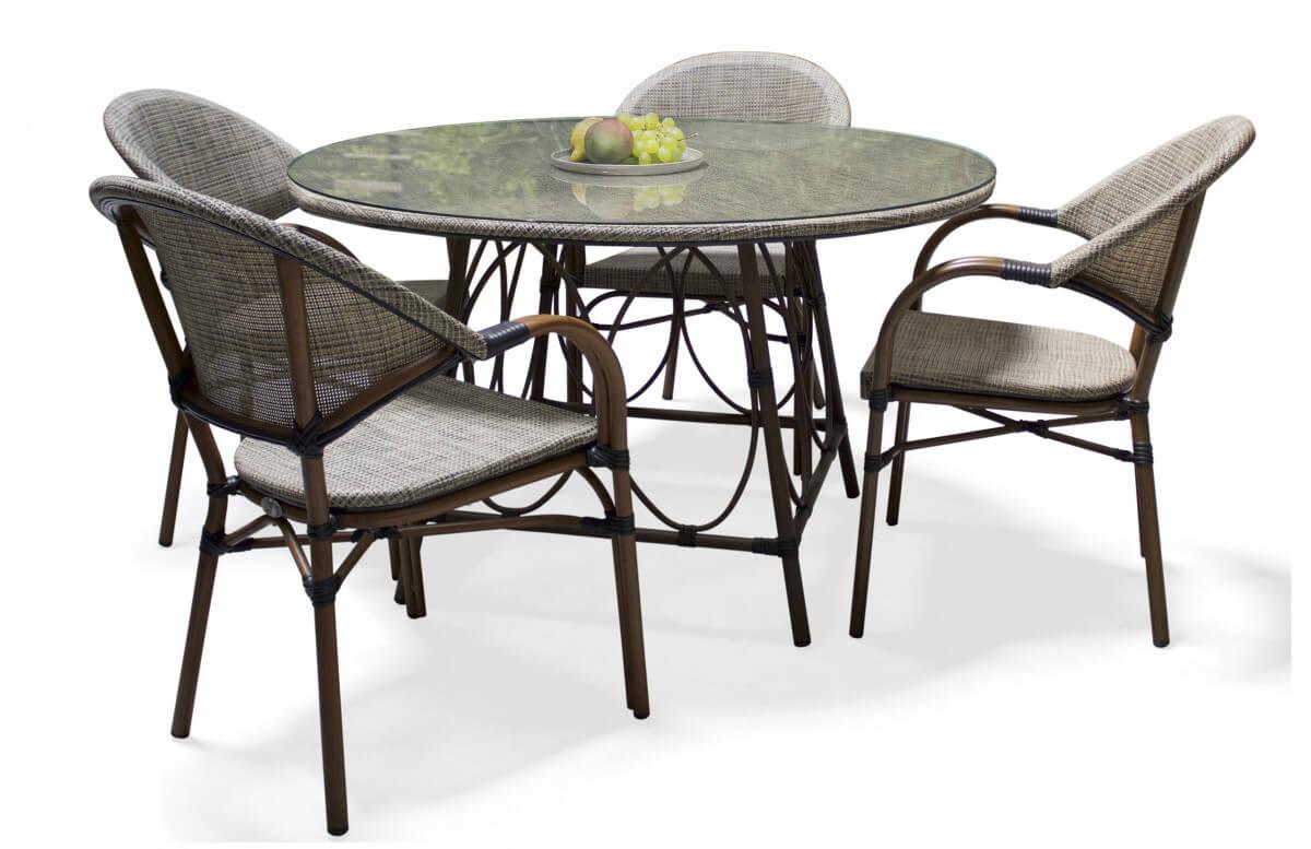 Ensemble table ronde et fauteuils de jardin en imitation bambou pour 4 personnes DCB Garden USHUAIA