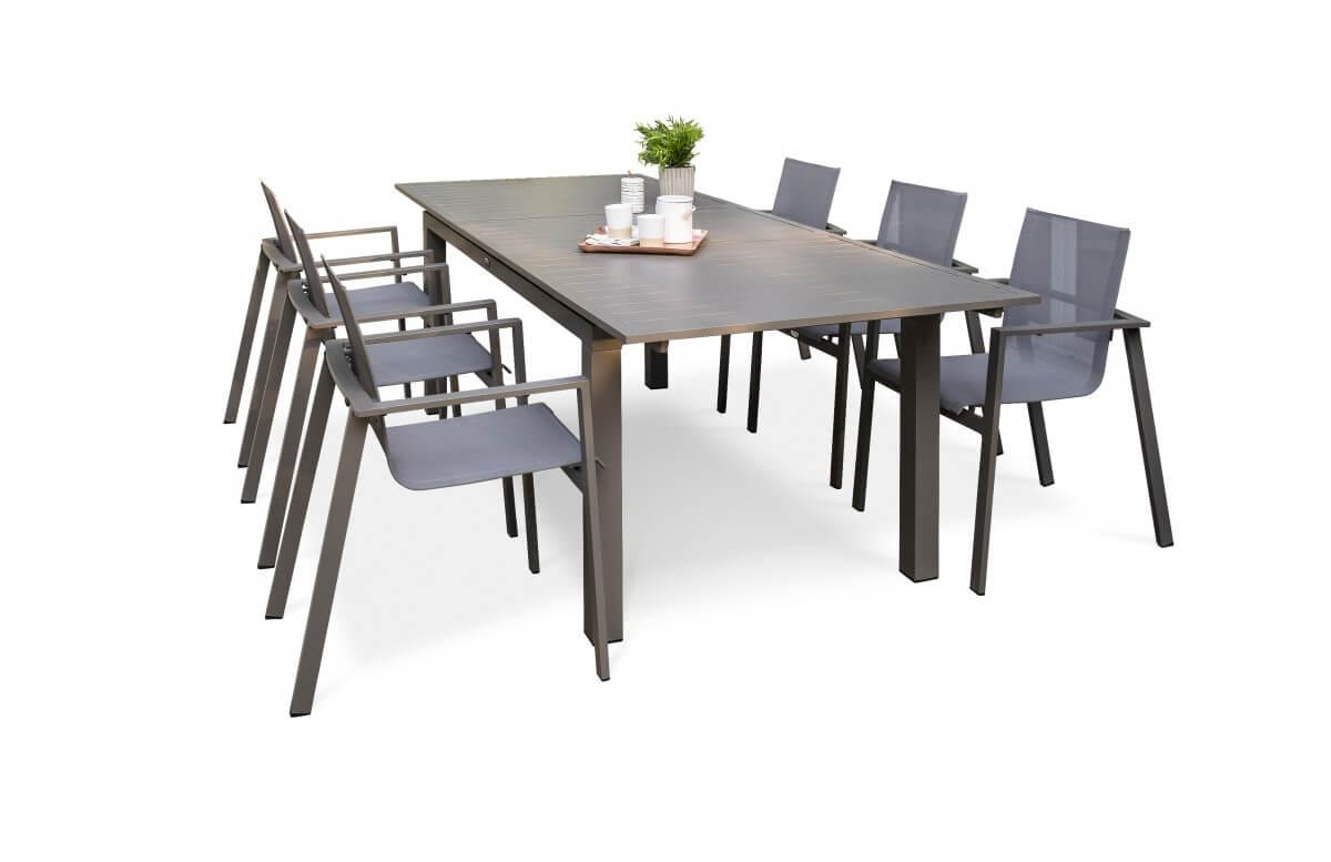 Ensemble table et chaises de jardin avec rallonge 6 personnes DCB Garden ZAHARA