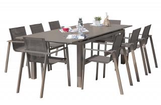 Ensemble table et chaises de jardin avec rallonge 8 personnes DCB Garden ZAHARA