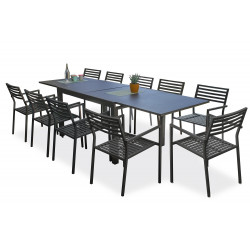 Ensemble table et fauteuilsde jardin en aluminium anthracite 10 personnes CityGarden Gaston