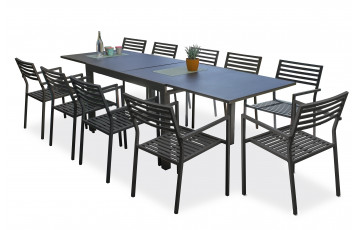Ensemble table et fauteuils de jardin en aluminium anthracite 10 personnes City Garden Gaston