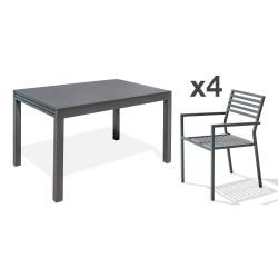 Ensemble table et fauteuilsde jardin en aluminium anthracite 4 personnes CityGarden Gaston