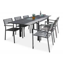 Ensemble table et fauteuilsde jardin en aluminium anthracite 6 personnes CityGarden Gaston