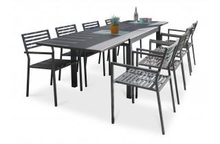 Ensemble table et fauteuilsde jardin en aluminium anthracite 8 personnes CityGarden Gaston