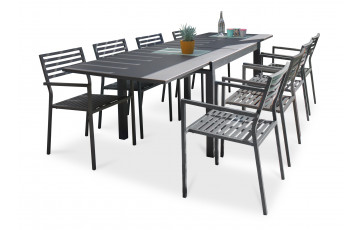 Ensemble table et fauteuils de jardin en aluminium anthracite 8 personnes City Garden Gaston