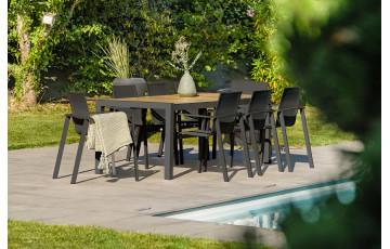 Ensemble table et chaises de jardin plateau céramique et aluminium Anthracite Helsinki 8 personnes DCB GARDEN