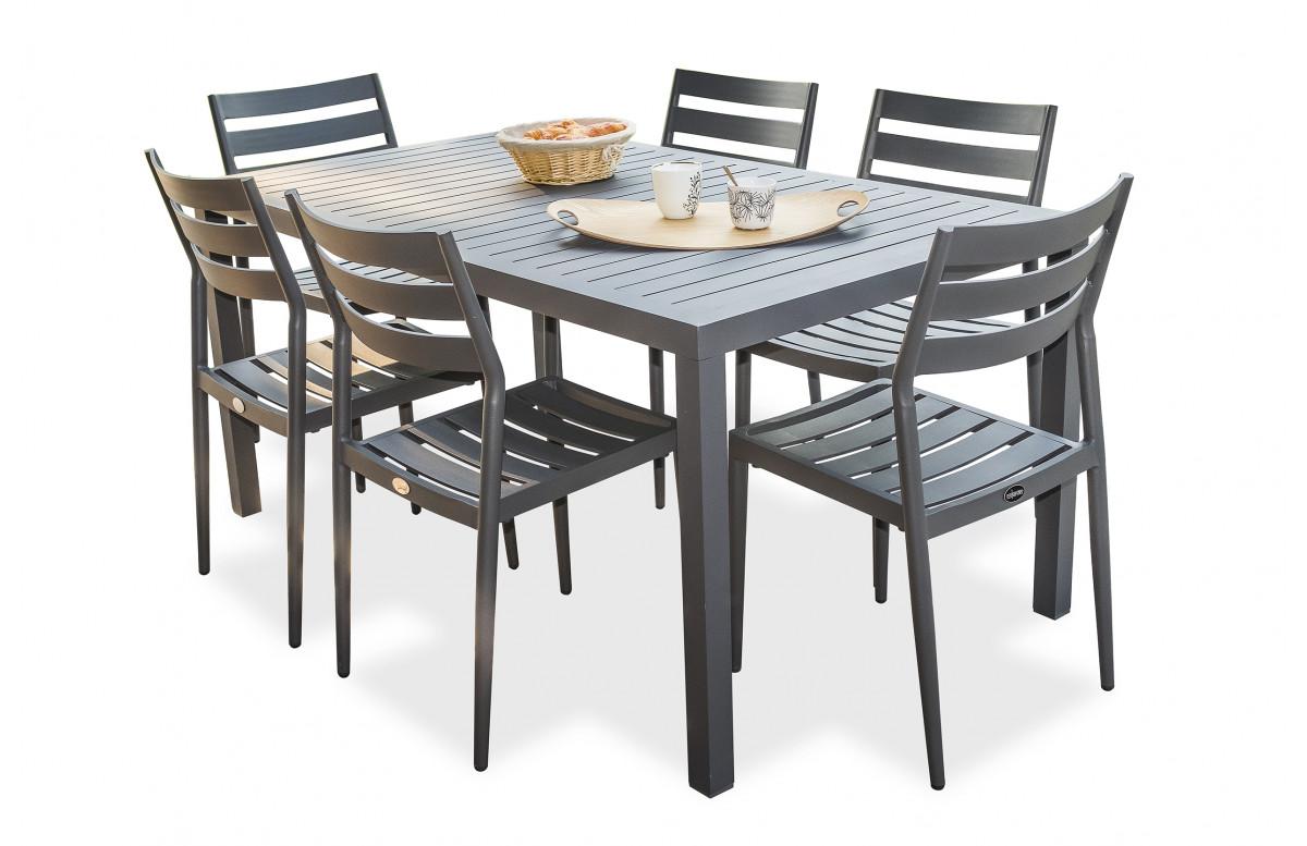 Ensemble table et chaises de jardin 6 personnes en aluminium anthracite DCB Garden MIAMI-Gabin