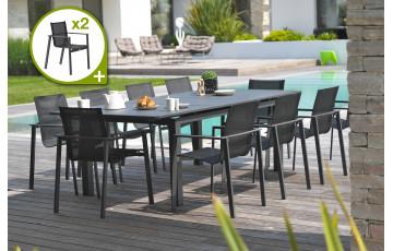 Ensemble table et chaises de jardin en aluminium DCB Garden 12 personnes noir Miami