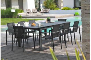 Ensemble table et chaises de jardin en aluminium DCB Garden 8 personnes noir Miami