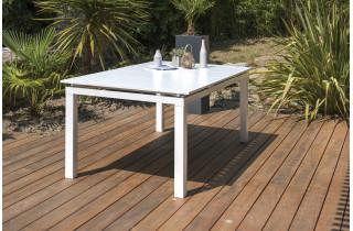 Table alu blanc à rallonge automatique blanche 10-12 personnes