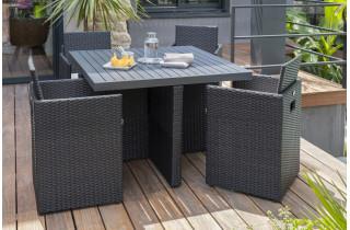 Salon de jardin design encastrable 4 places DCB Garden en résine tressée & aluminium