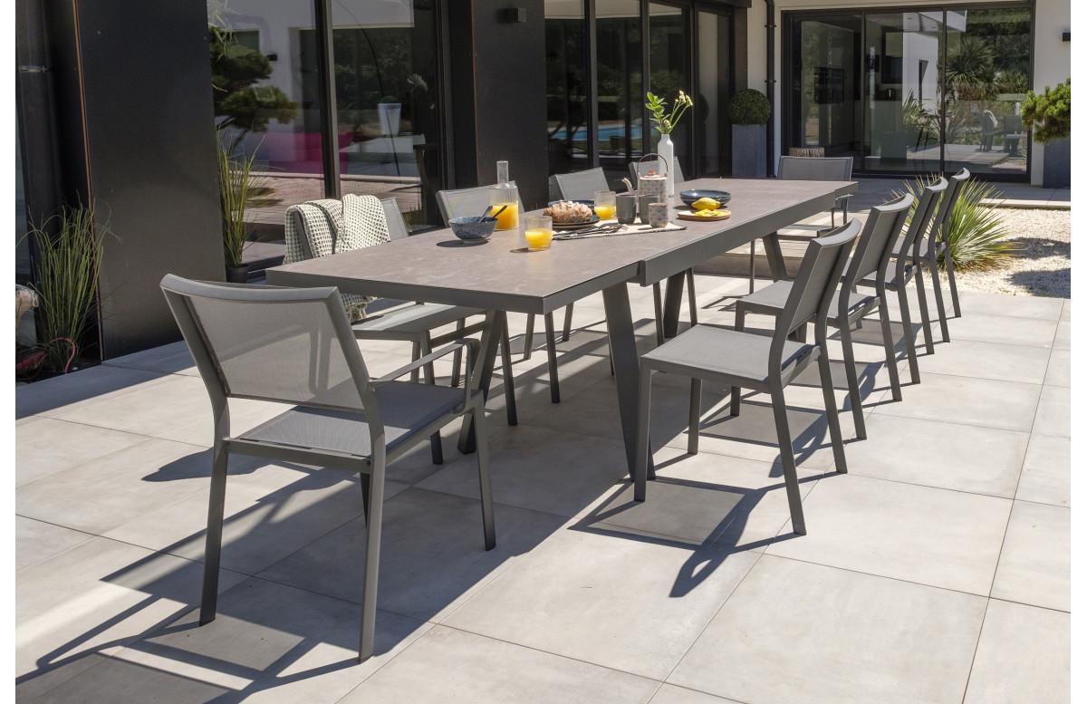 Ensemble table et chaises de jardin extensible en céramique STOCKHOLM Anthracite 10 personnes DCB GARDEN