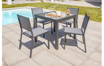 Ensemble table et chaises de jardin en alu/verre pour 4 personnes DCB Garden TOLEDE gris anthracite
