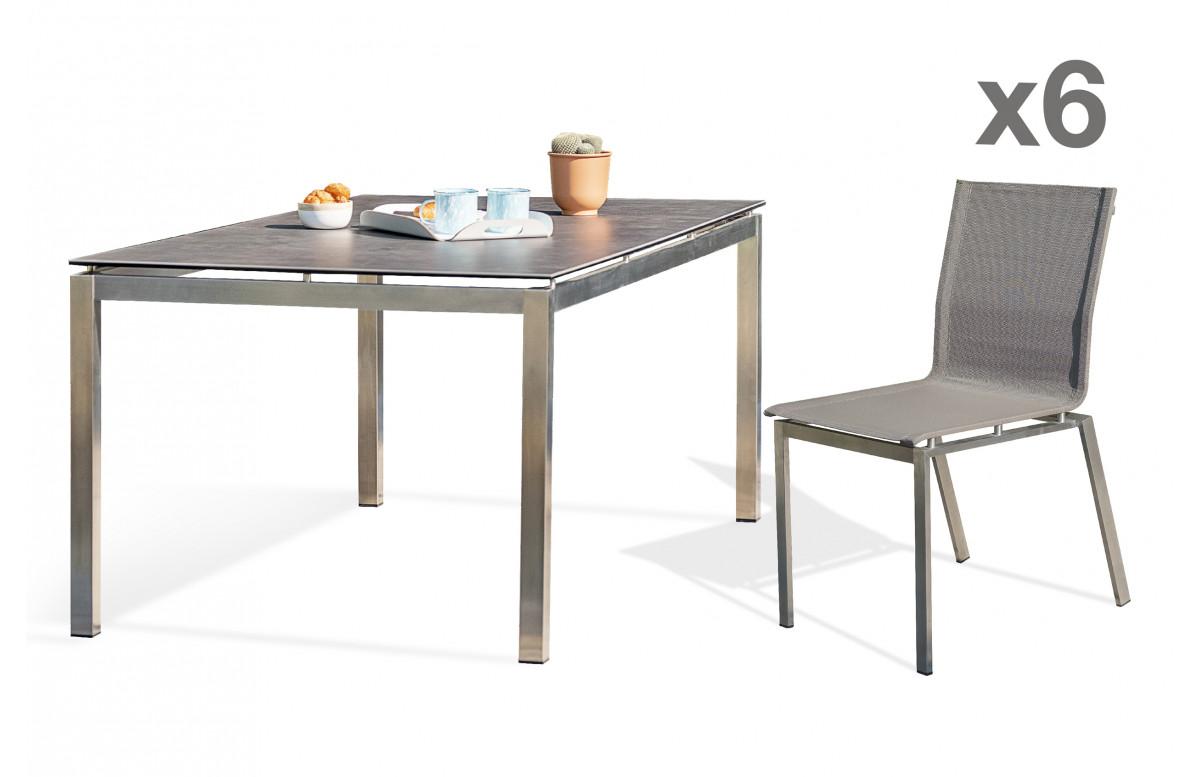 Ensemble table et chaises de jardin 6 personnes en inox & céramique Paris Garden