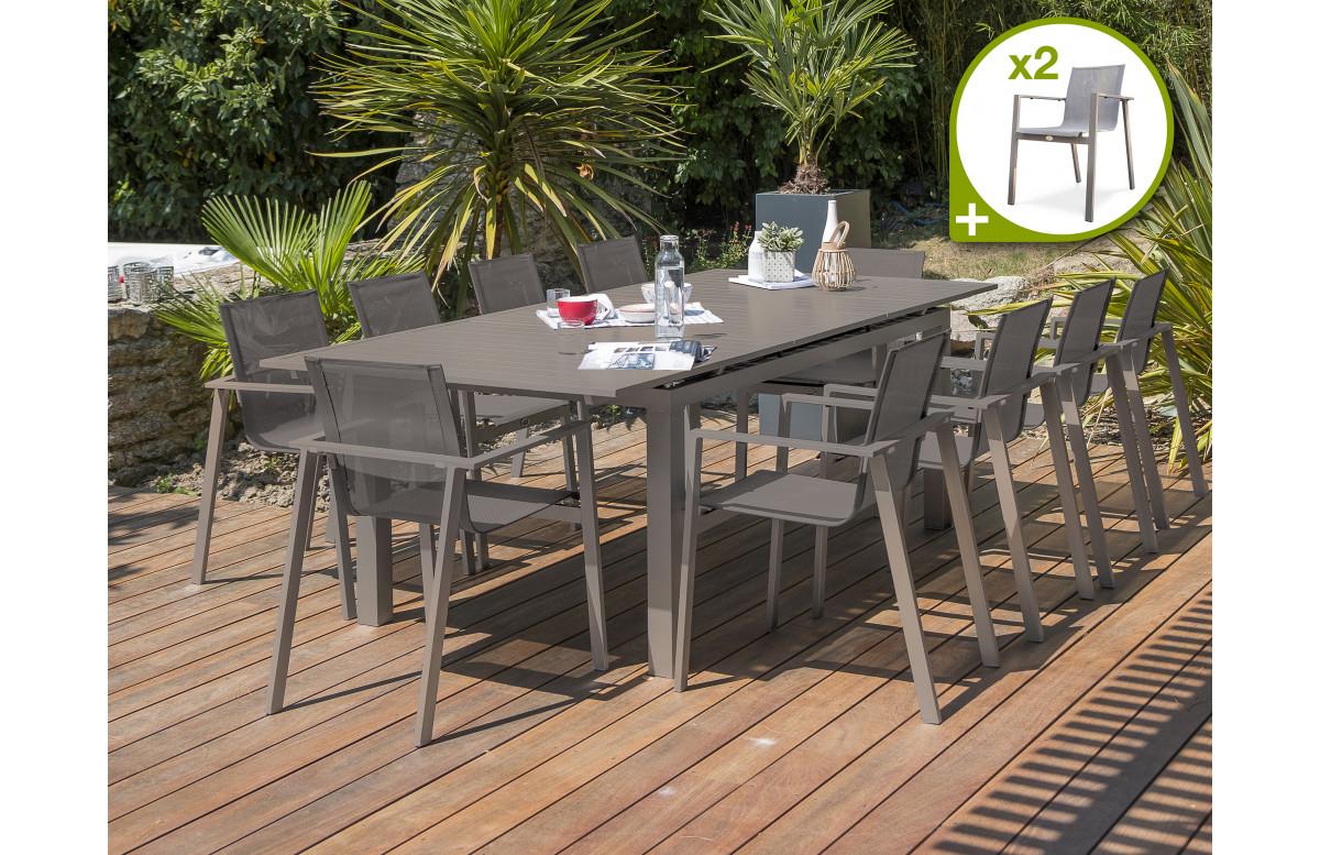 Ensemble table et chaises de jardin en aluminium DCB Garden 12 personnes sable