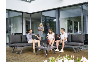 Salon de jardin bas inclinable aluminium/Sunproof 6 personnes Auckland - Sieger Exclusiv Passion