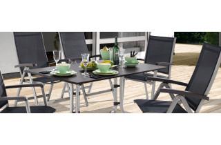 Ensemble table et fauteuils de jardin inclinable aluminium/Textilux 6 personnes Bodega - Sieger