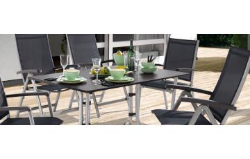 Ensemble table et fauteuils de jardin inclinable et pliable aluminium/Textilux 6 personnes Bodega - Sieger