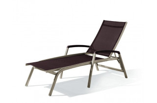 Bain de soleil design inclinable aluminium/Textilux Bodega - Sieger