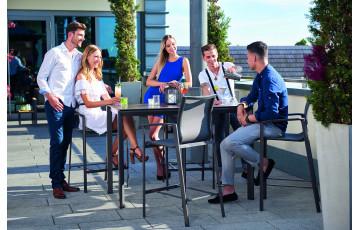 Ensemble haut table et fauteuils de jardin pliant aluminium/Textilux 4 personnes Bozen Barset - Sieger Exclusiv