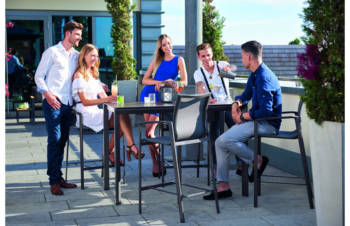 Ensemble haut table et fauteuils de jardin aluminium/Textilux 4 personnes Bozen Barset - Sieger Exclusiv