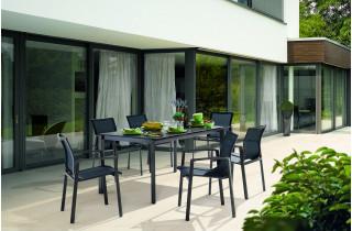 Ensemble table et fauteuils de jardin pliant aluminium/Textilux 6 personnes Bozen - Sieger Exclusiv