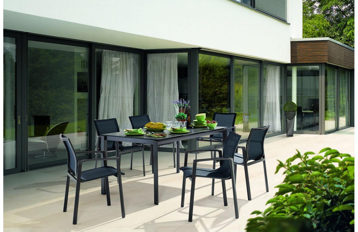 Ensemble table et fauteuils de jardin aluminium/Textilux 6 personnes Bozen - Sieger Exclusiv