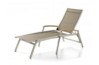 Bain de soleil design inclinable aluminium/Teck certifié Cadiz - Sieger