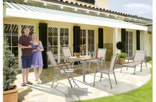Ensemble table et fauteuils de jardin pliant aluminium/Teck certifié 4 personnes Cadiz - Sieger