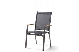 Fauteuil salon de jardin empilable aluminium/Teck certifié Cadiz - Sieger