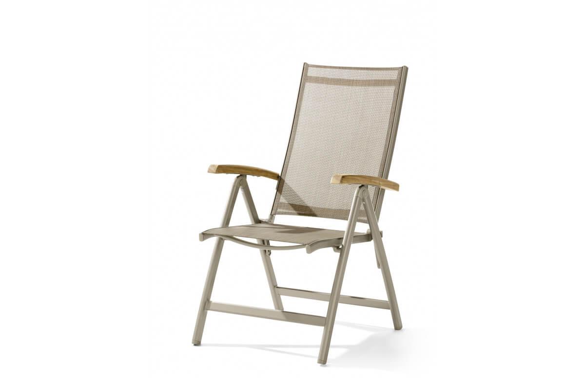 Grand fauteuil salon de jardin inclinable aluminium/Teck certifié Cadiz - Sieger