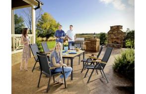 Ensemble table et fauteuils de jardin pliant aluminium/Teck certifié 6 personnes Cadiz - Sieger