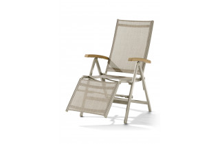 Relax de jardin pliant inclinable aluminium/Teck certifié Cadiz - Sieger
