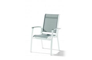 Fauteuil salon de jardin pliant aluminium/Textilux Calvi - Sieger Exclusiv