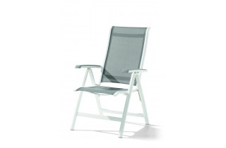 Grand fauteuil salon de jardin inclinable aluminium/Textilux Calvi - Sieger Exclusiv