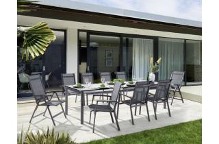 Ensemble table et fauteuils de jardin extensible aluminium/Textilux 10 personnes Calvi - Sieger Exclusiv