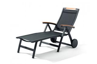Bain de soleil design inclinable aluminium/Teck certifié Catena - Sieger Exclusiv