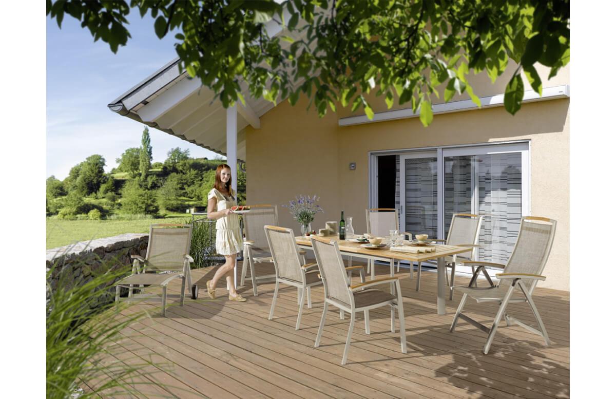 Ensemble table et fauteuils de jardin pliant aluminium/Teck certifié 6 personnes Catena - Sieger Exclusiv