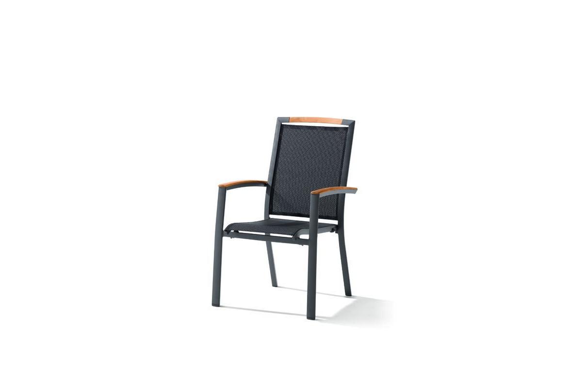Fauteuil salon de jardin pliant aluminium/Teck certifié Catena - Sieger Exclusiv