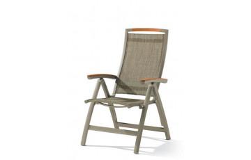 Grand fauteuil salon de jardin pliant inclinable aluminium/Teck certifié Catena - Sieger Exclusiv